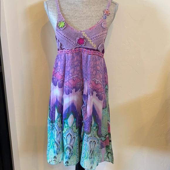 Farinelli Summer Dress Size Medium Crochet Top